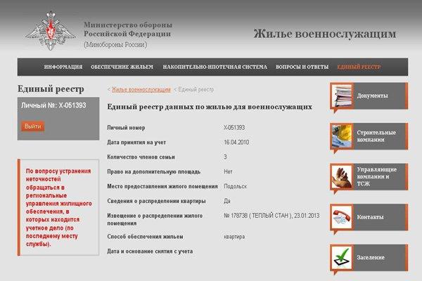 формирование реестра на сайте Минобороны